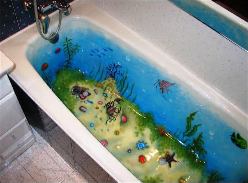 Прикольная аэрография для ванной
