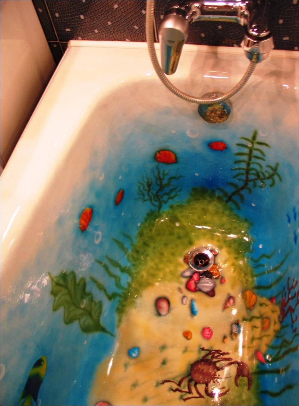Как разрисовать раковину в ванной своими руками