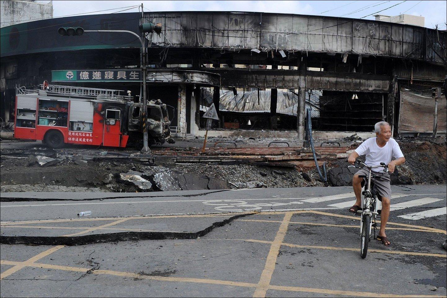 Взрыв газовой трубы на Тайване