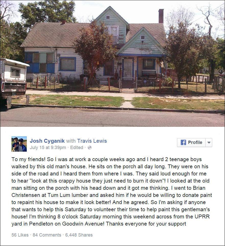 Добровольцы покрасили дом пенсионера