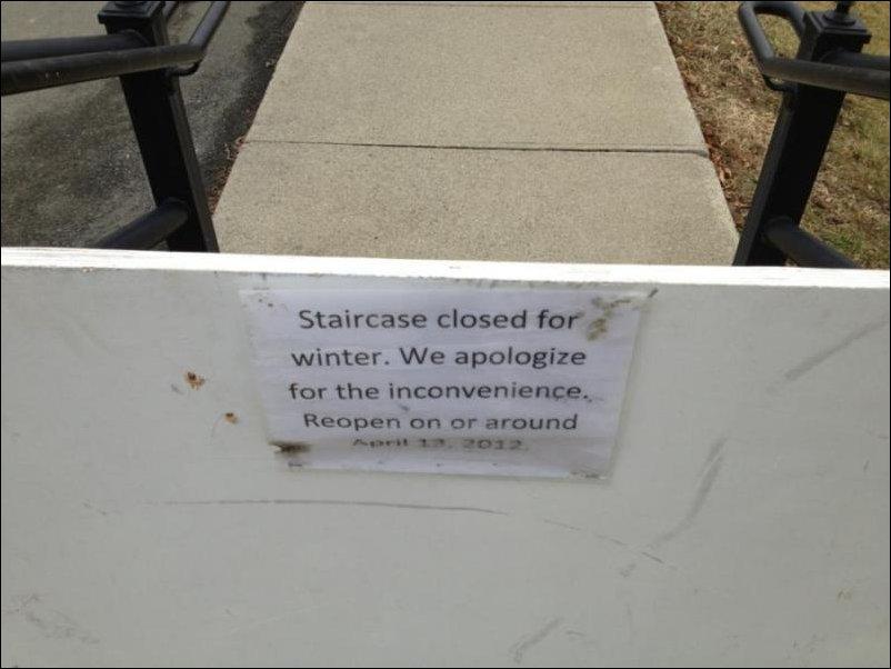 Лестница закрыта на зиму