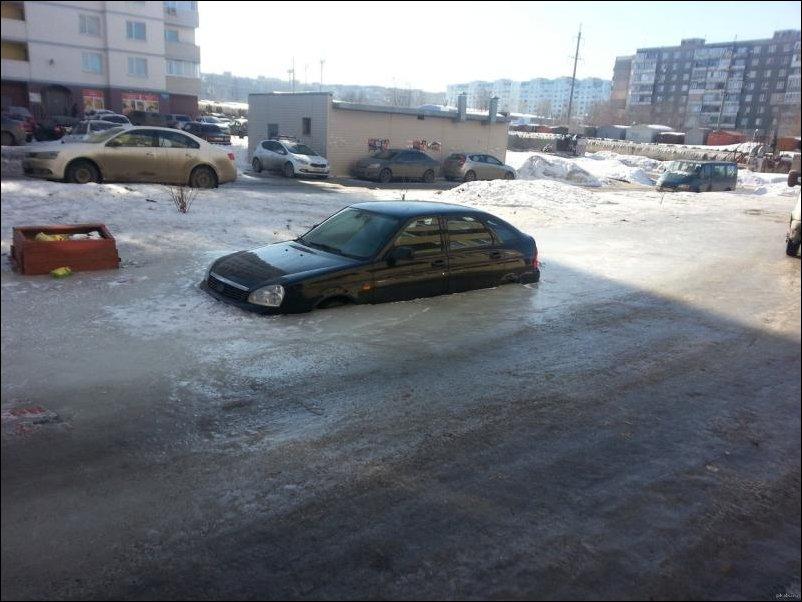 ВАЗ вмерз в лед