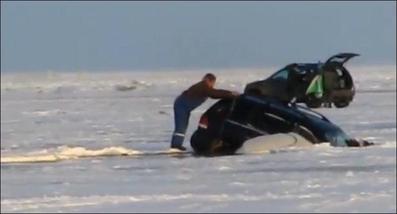 Утопил автомобиль на зимней рыбалке