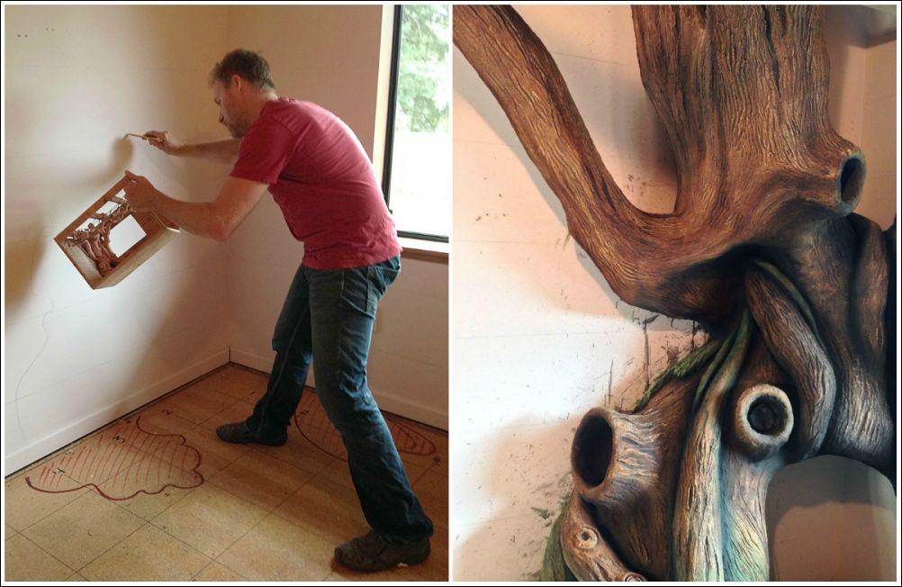 Папа построил сказочное дерево в комнате дочки (12 фото)