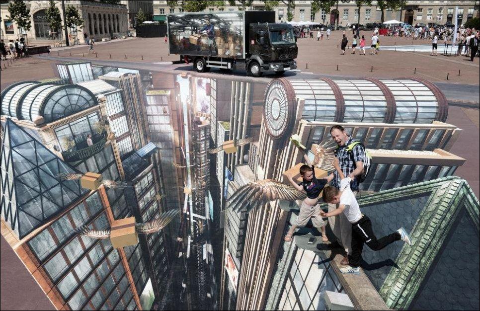 Огромный 3D стрит-арт