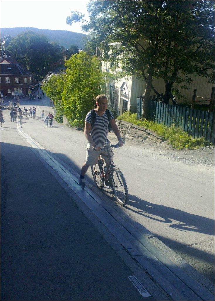 Подъемник для велосипедистов в Норвегии