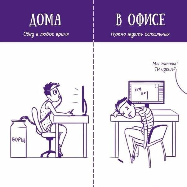 Работа дома и работа в офисе