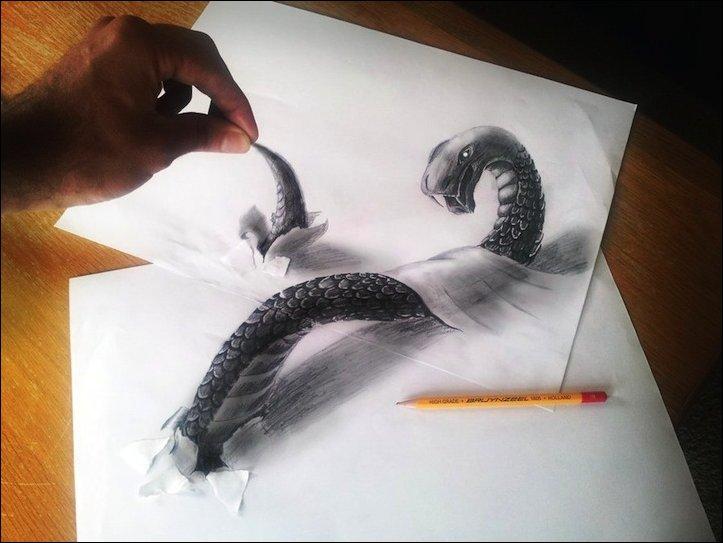 3D рисунки простым карандашом