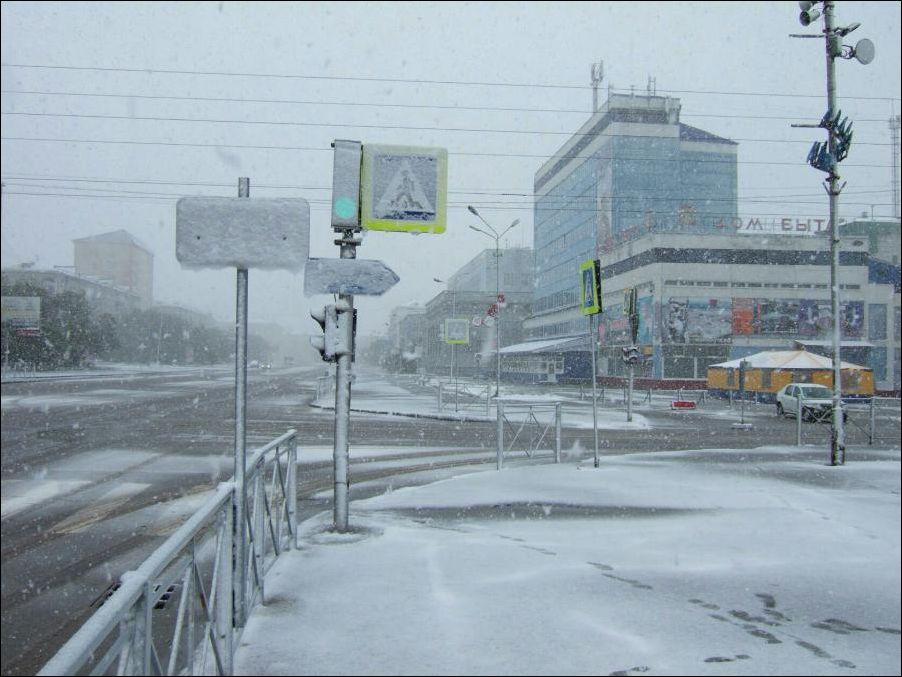 В Воркуте выпал снег