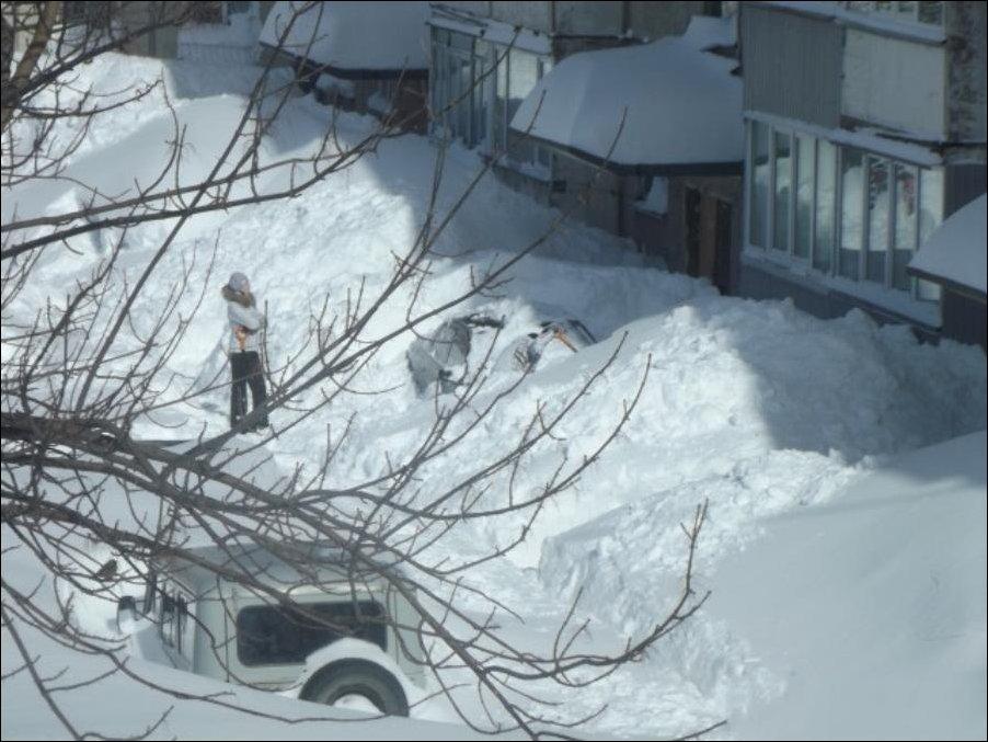 Снегопад в Южно-Сахалинске