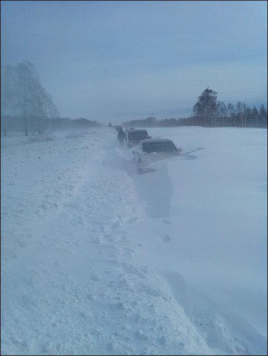 Снежный плен на трассе Новосибирск-Ленинск-Кузнецкий