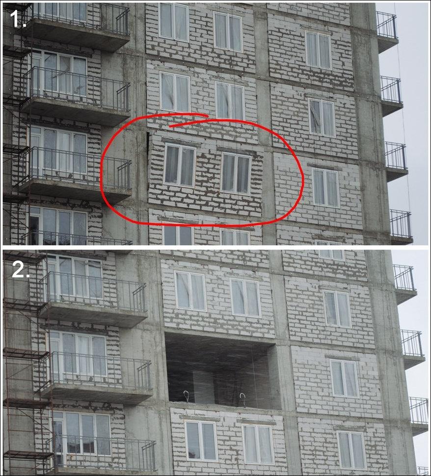 В строящемся доме выпала стена