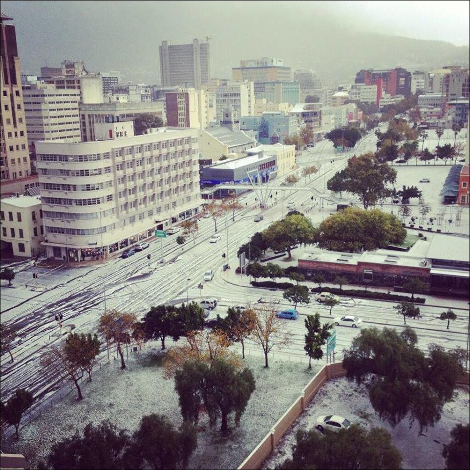 В Кейптауне выпал снег