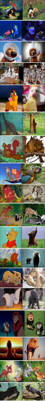 Герои мультфильмов Диснея и фото реальных животных