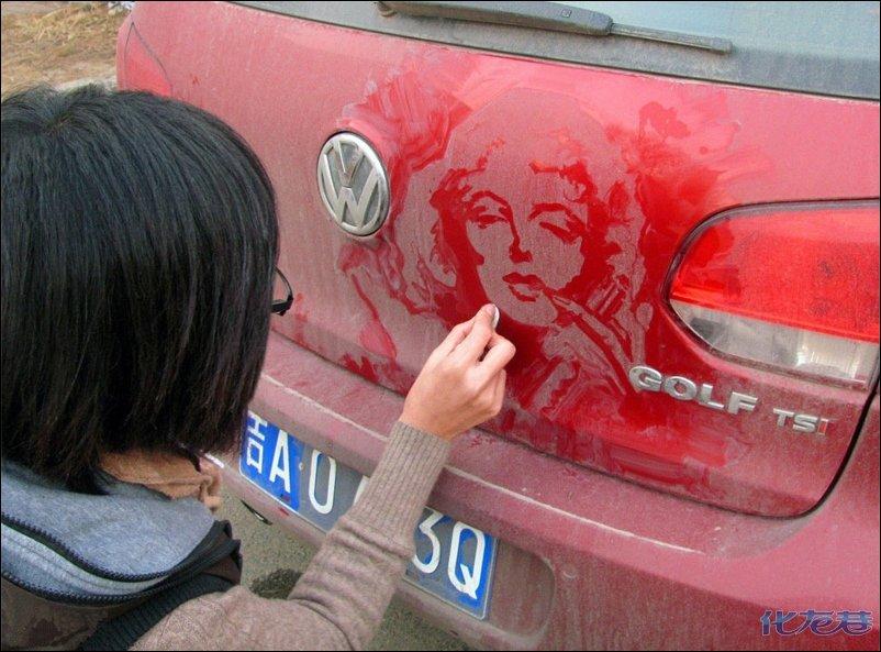 Рисунки на грязной машине фото