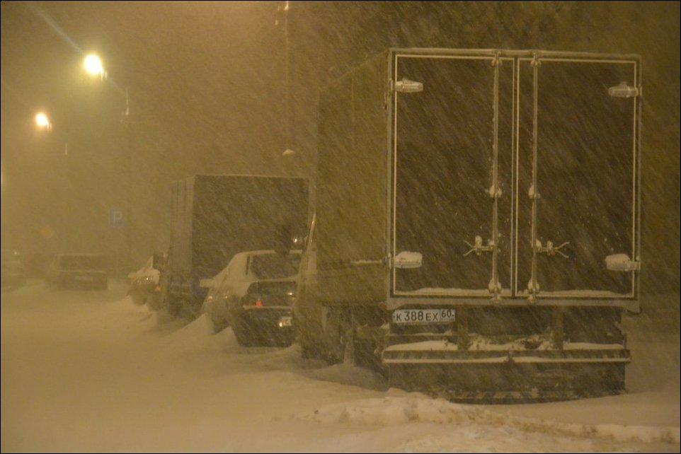 Снегопад в Пскове