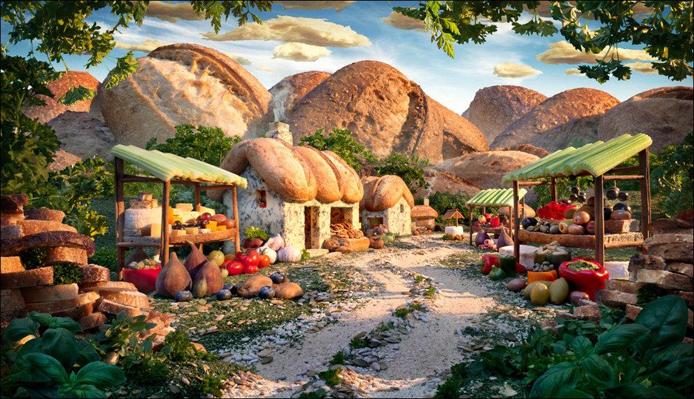 Удивительные пейзажи, сделанные целиком из еды