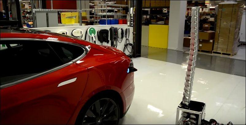 Прототип новой зарядки для автомобиля Тесла