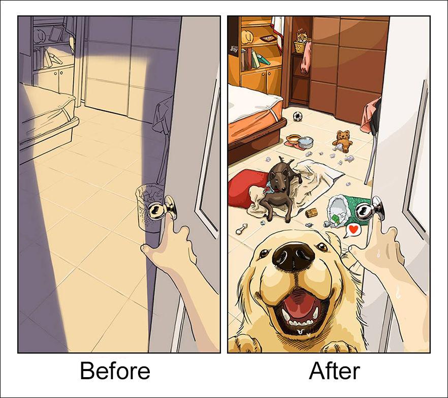 Жизнь до и после заведения собаки (8 картинок)