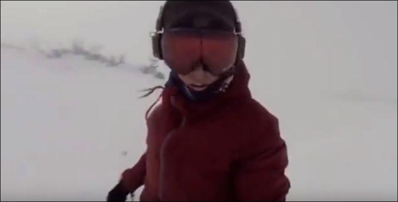 Уехала на сноуборде от медведя